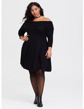 Black Off The Shoulder Skater Dress by Torrid