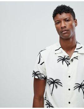 Jack & Jones Originals Short Sleeve Shirt With Revere Collar In Palm Tree Print by Jack & Jones