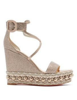 Chocazeppa Metallic Leather Wedges by Christian Louboutin