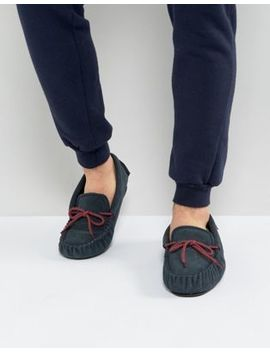 Dunlop Moccasin Slippers In Navy Suede by Asos
