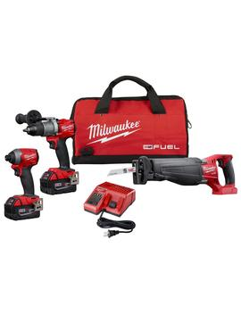 M18 Fuel 18 Volt Lithium Ion Brushless Cordless Combo Kit (3 Tool) W/(2) 5 Ah Batteries, Charger & Tool Bag by Milwaukee