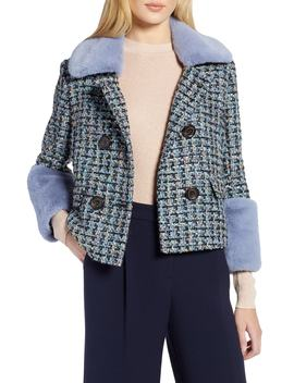 X Atlantic Pacific Tweed Jacket With Removable Faux Fur Trim by Halogen®
