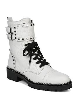 Women's Jennifer Studded Leather Combat Booties by Sam Edelman