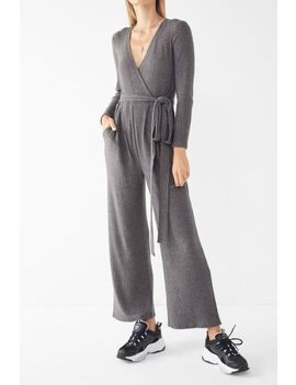 Uo Cozy Ribbed Knit Wrap Jumpsuit by Urban Outfitters