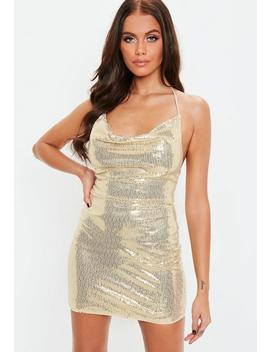 Gold Sequin Cowl Mini Dress by Missguided