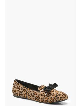 Bow Trim Leopard Slipper Ballets by Boohoo