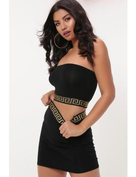 Black Gold Strap Bandeau Crop Top by I Saw It First