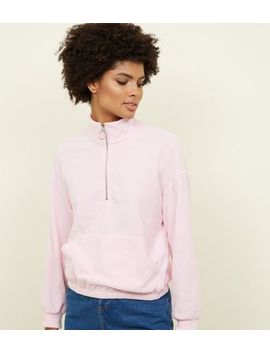 Pink Half Zip Front Fleece Sweatshirt by New Look