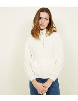 Cream Half Zip Fleece Sweatshirt by New Look