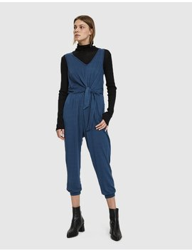 Inaya Tie Waist Jersey Jumpsuit In Deep Blue by Stelen