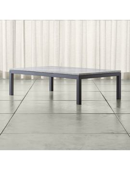 Parsons Grey Marble Top/ Dark Steel Base 60x36 Large Rectangular Coffee Table by Crate&Barrel