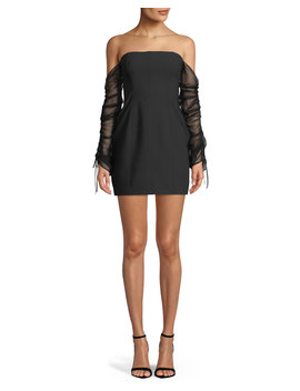 Anastasia Off The Shoulder Long Sleeve Mini Cocktail Dress by Neiman Marcus