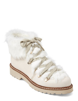 Beige & Ivory Real Fur Trimmed Lace Up Boots by Elena