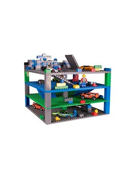 """Strictly Briks Classic Trap & Gap 10"""" X 10"""" Blue, Green, Gray Baseplate 4 Pack 2 Base Plates, 2 Trap Door & Gap Baseplates, 15 Stackers, 