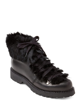 Black Real Fur Trimmed Lace Up Boots by Elena