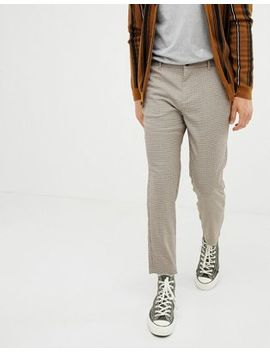 Bershka Slim Cropped Pants In Brown by Bershka
