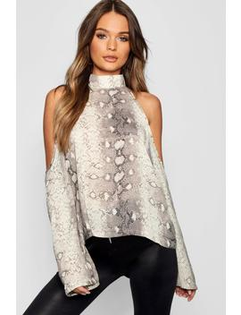 Snake Print Cold Shoulder Blouse by Boohoo