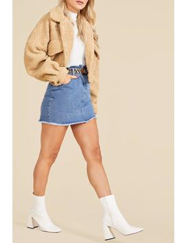 Elastic Ruffle Waist Denim Mini Skirt by Boohoo