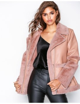Fur And Leather Aviator Jacket by Missguided