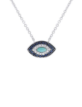 14 K White Gold Diamond, Sapphire, & Turquoise Evil Eye Pendant Necklace by Ron Hami
