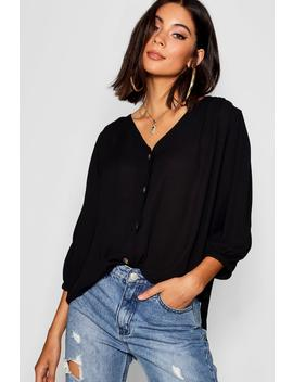 Horn Button Through Blouse by Boohoo
