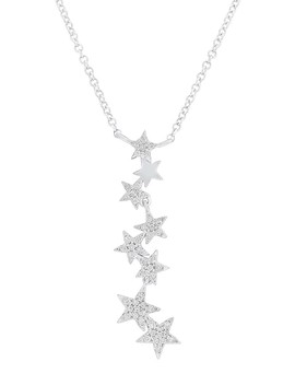 14 K White Gold Diamond Cascading Star Pendant Necklace by Ron Hami