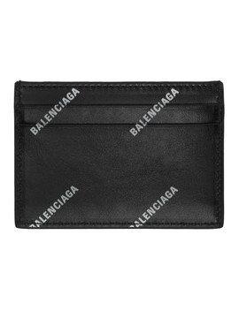 Black Allover Logo Card Holder by Balenciaga