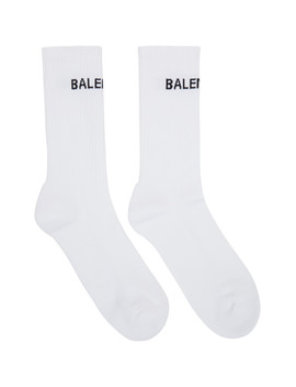 White Logo Tennis Socks by Balenciaga