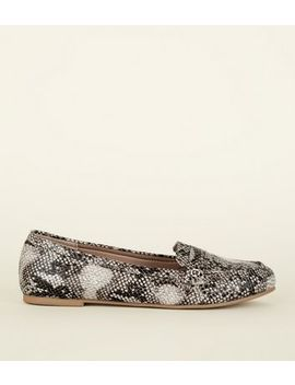 Wide Fit Brown Faux Snake Loafers by New Look