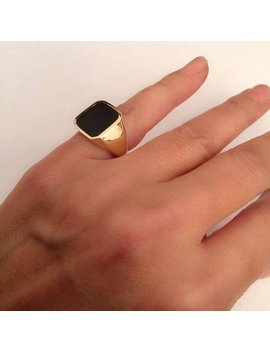 Signet Ring, Onyx Ring, Women Ring, Men Ring, Black Onyx Ring. Gold Signet Ring, Black Square Signet Ring, Man Pinky Ring, Woman Pinky Ring by Etsy