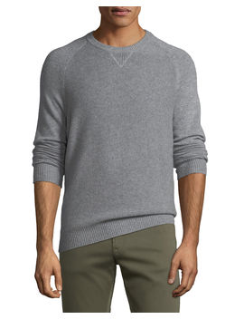 Men's Tuck Stitch Cashmere Crewneck Sweater by Neiman Marcus