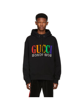 Black Heavy City Logo Hoodie by Gucci