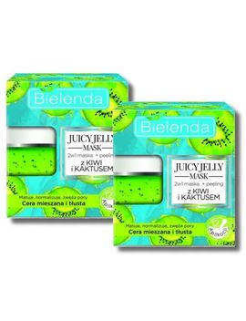 2x Bielenda Peeling &Amp; Mask 2in1  Kiwi &Amp; Cactus  Mixed And Oily Skin 2x50g 24 App by Ebay Seller