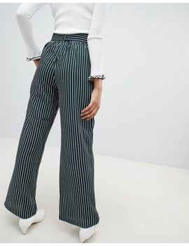 Qed London Wide Leg Stripe Trousers With Sash Belt by Trousers