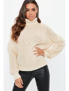 Cream Roll Neck Cable Fringe Jumper by Missguided