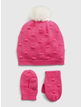 Popcorn Knit Beanie Mitten Set by Gap