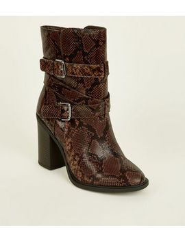 Wide Fit Brown Faux Snake Block Heel Calf Boots by New Look