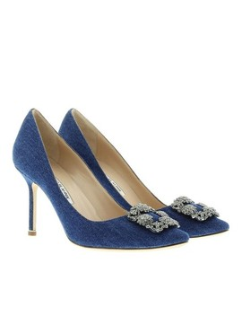 Blue Classic Denim Hangisi Satin Crystal Jeweled Embellished 105mm Heels Pumps by Manolo Blahnik