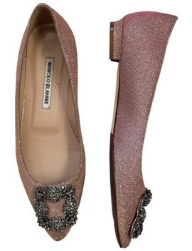 Pink 'hangisi' Jeweled Pointy Toe Champagne Flats by Manolo Blahnik