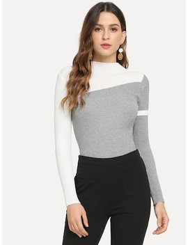 Color Block Skinny Sweater by Sheinside