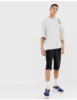Asos White   T Shirt Oversize En Néoprène Avec Double Col   Gris Glacé by Asos White