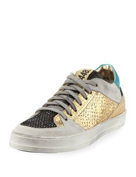 Queens Low Top Sneakers In Glitter Mesh & Embossed Leather by P448