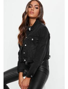 Petite Crop Jeansjacke In Schwarz by Missguided