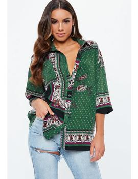 Green Long Sleeve Paisley Print Shirt by Missguided