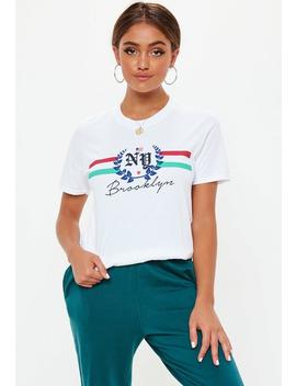 White Ny Brooklyn Graphic T Shirt by Missguided