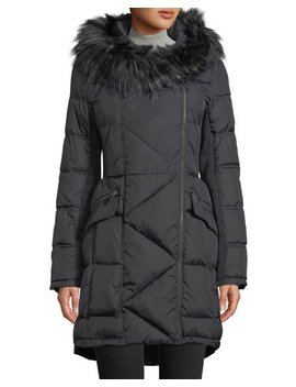 Asymmetric Front Faux Fur Collar Puffer Jacket by French Connection