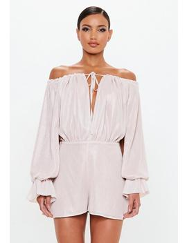 Peace + Love Stone Metallic Bardot Playsuit by Missguided