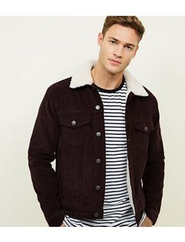 Burdundy Borg Lined Corduroy Jacket by New Look
