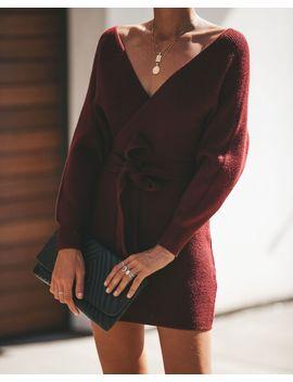 Fatal Attraction Kimono Sweater Dress   Wine by Vici