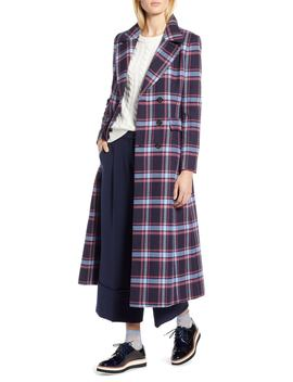 X Atlantic Pacific Long Plaid Coat by Halogen®